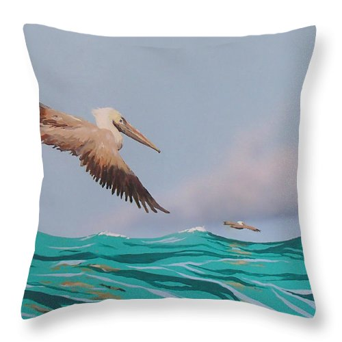 Pelicans Throw Pillow featuring the painting Surfing by Philip Fleischer