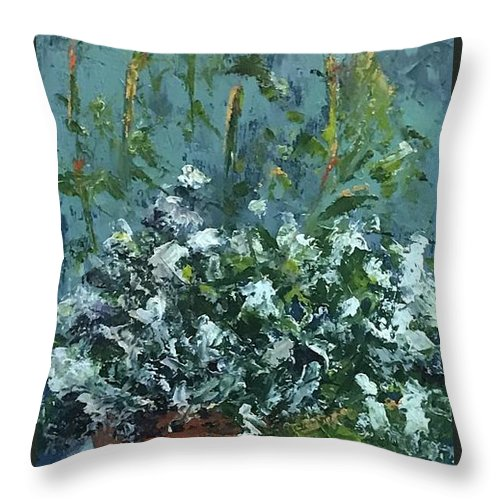 Alyssum Throw Pillow featuring the pyrography Sweet Alyssum by Patricia Caldwell
