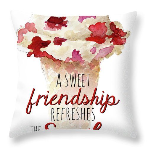 Sweet Throw Pillow featuring the painting Sweet Friendship by Lanie Loreth