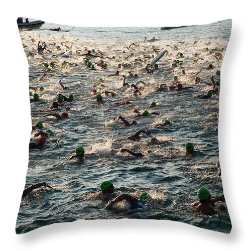 Seascape Throw Pillow featuring the photograph Swim Start Of Triathlon In Kailua Bay by Alvis Upitis