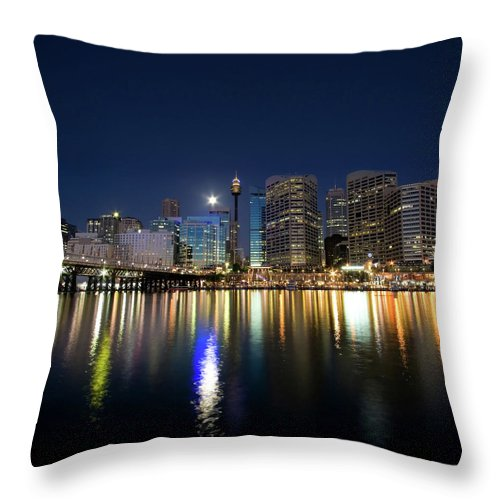 Scenics Throw Pillow featuring the photograph Sydney Darling Harbour Twilight by Matejay