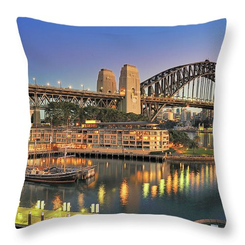 Built Structure Throw Pillow featuring the photograph Sydney Harbour Bridge by Warwick Kent