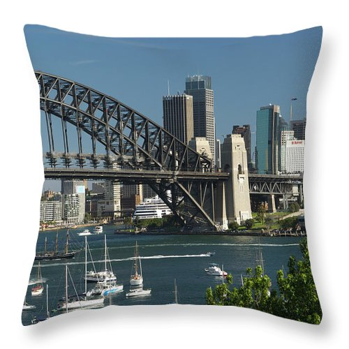 Sydney Harbor Bridge Throw Pillow featuring the photograph Sydney Harbour, New South Wales by Robin Smith