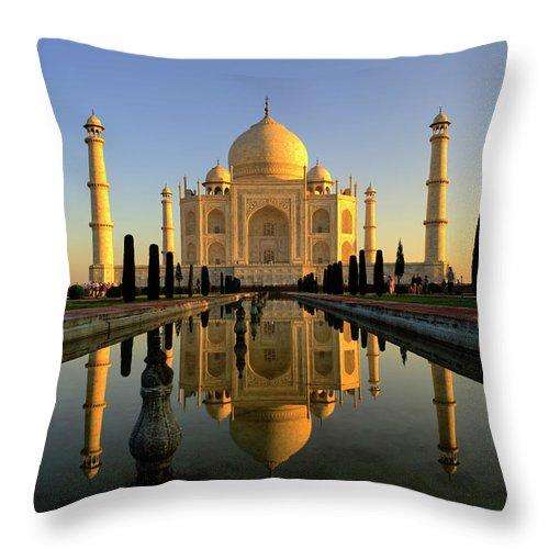Clear Sky Throw Pillow featuring the photograph Taj Mahal by Tayseer Al-hamad