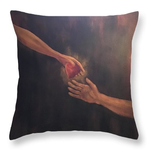 Heart Throw Pillow featuring the painting Take My Heart by Ron Tango Jr