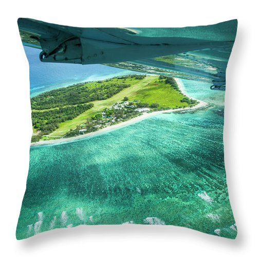 Grass Throw Pillow featuring the photograph Taking Off From Great Barrier Reef by Nick