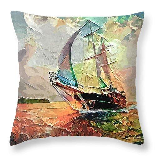 Tall Ship Throw Pillow featuring the photograph Tall Ship Sails Toward Shore  by Sandi OReilly