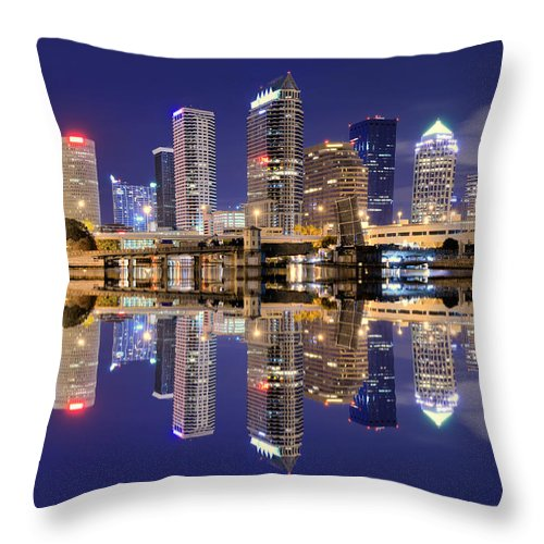 Downtown District Throw Pillow featuring the photograph Tampa Bay Skyline by Sean Pavone