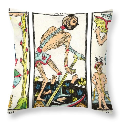 Tarot Throw Pillow featuring the drawing Tarot Freedom by Massimo Pietrobon