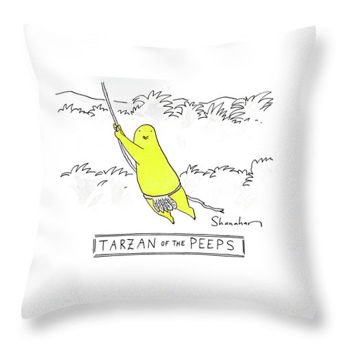 Tarzan Of The Peeps Throw Pillow featuring the drawing Tarzan Of The Peeps by Danny Shanahan