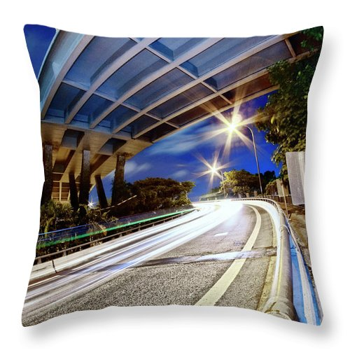 Curve Throw Pillow featuring the photograph Taste Tarmac by (c) Jonathan Chiang/scintt