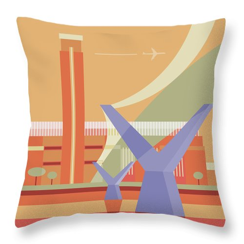 London Millennium Footbridge Throw Pillow featuring the digital art Tate Gallery And Millennium Bridge by Nigel Sandor