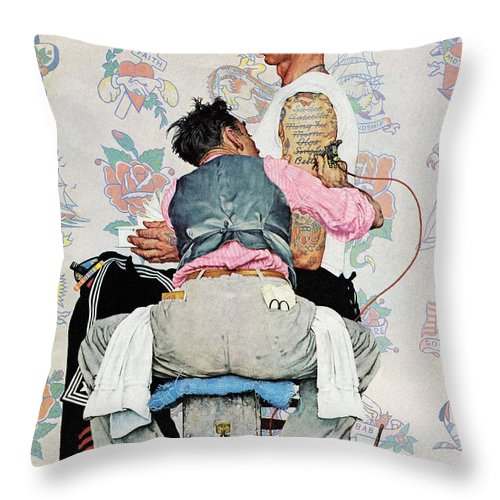 Arms Throw Pillow featuring the drawing Tattoo Artist by Norman Rockwell