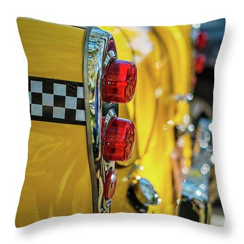 Outdoors Throw Pillow featuring the photograph Taxi Tail Light, New York City, New by Kai Sarton