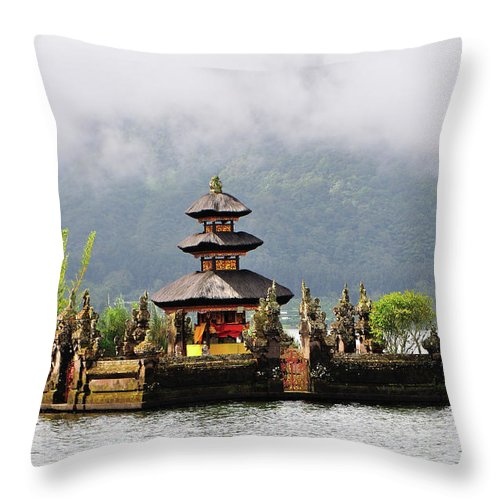Tranquility Throw Pillow featuring the photograph Temple On Lake, Bali by Aaron Geddes Photography