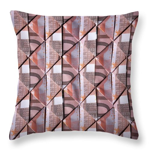 Shadow Throw Pillow featuring the photograph Ten Euro Banknotes Folded Into Diamond by Larry Washburn