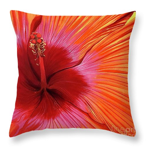 Hibiscus Throw Pillow featuring the painting Tequila Sunrise by Hunter Jay