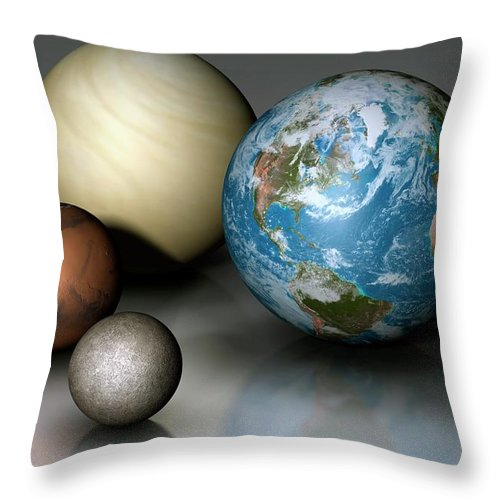 Scale Throw Pillow featuring the digital art Terrestrial Planets Compared by Mark Garlick