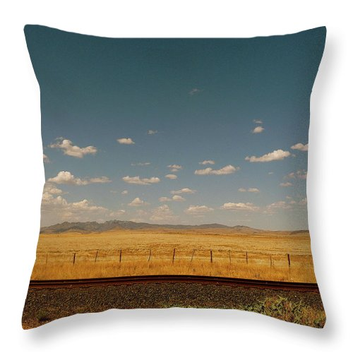 Tranquility Throw Pillow featuring the photograph Texan Desert Landscape And Rail Tracks by Papilio