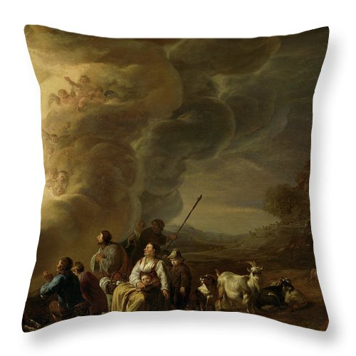 Cornelis Saftleven Throw Pillow featuring the painting The Annunciation To The Shepherd, 1650 by Cornelis Saftleven