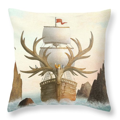 Ship Throw Pillow featuring the drawing The Antlered Ship by Eric Fan