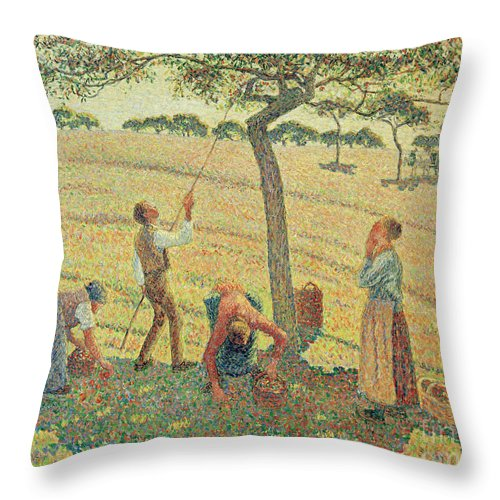 19th Century Throw Pillow featuring the painting The Apple Harvest by Camille Pissarro