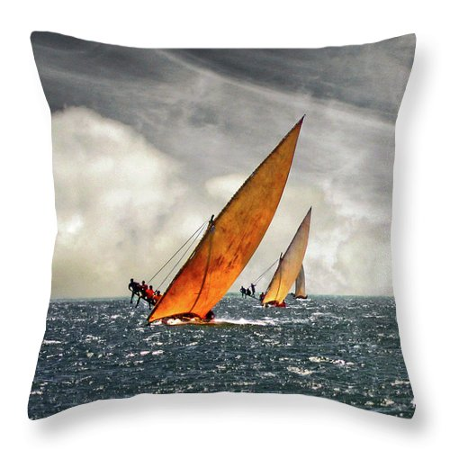 Kenya Throw Pillow featuring the photograph The Art Of Swahili Dhow Racing by David Schweitzer