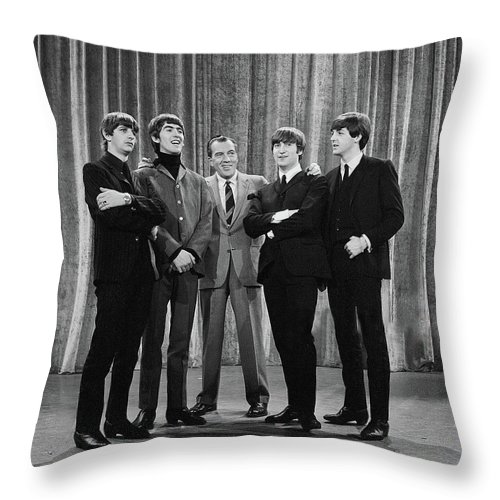 The Beatles Throw Pillow featuring the photograph the beatles and ed sullivan - February, 1964 by Mountain Dreams