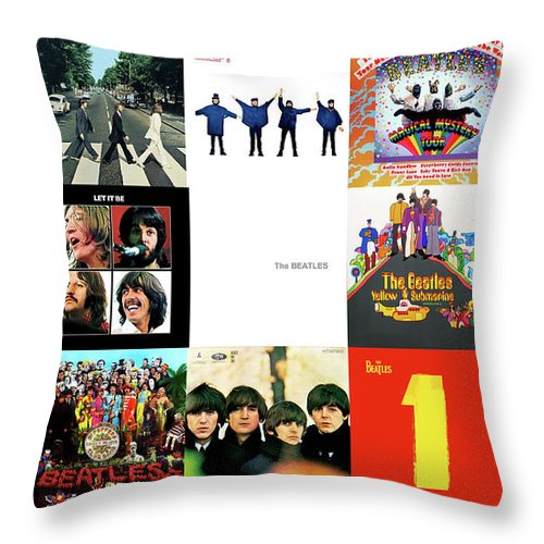 The Beatles Throw Pillow featuring the photograph The Beatles, Greatest Albums by Thomas Pollart
