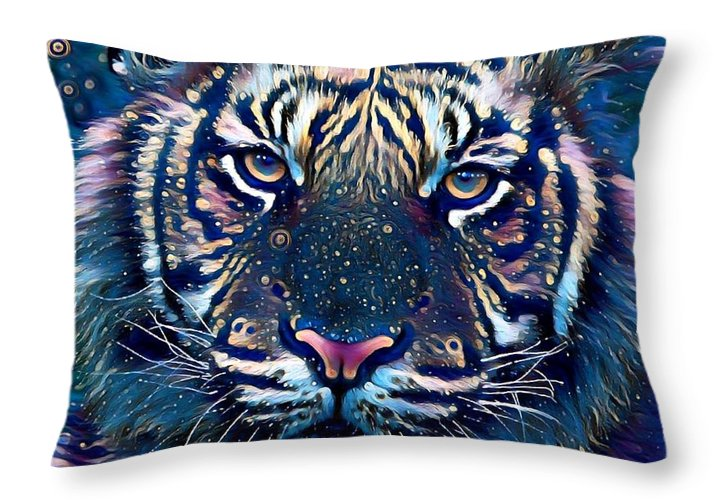 The Blue Tiger Throw Pillow For Sale By Rogue Art 20 X 14