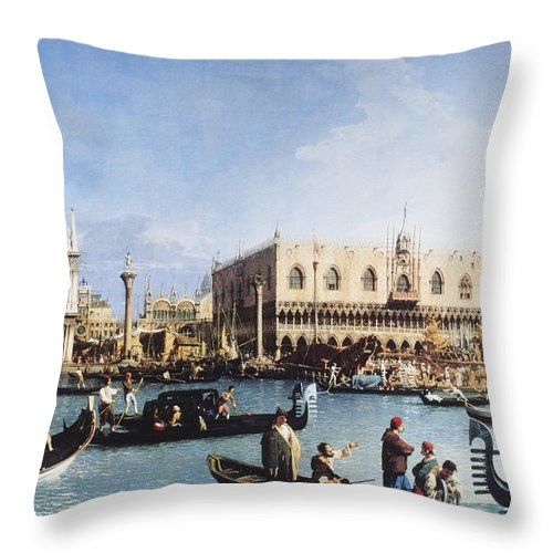 People Throw Pillow featuring the digital art The Bucintoro At The Molo On Ascension by Fototeca Gilardi