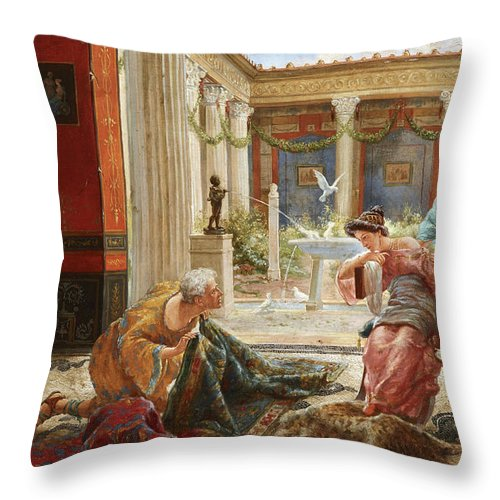 The Carpet Sellers Throw Pillow featuring the painting The Carpet Sellers by Ettore Forti