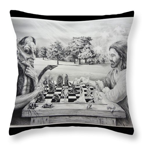 Jesus Throw Pillow featuring the drawing The Chess Game by Susan Frech-Sims