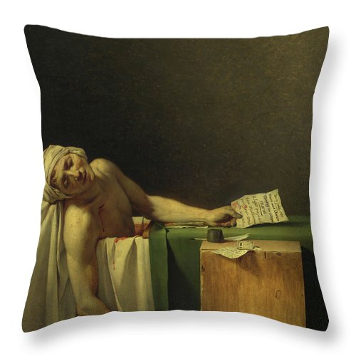 Jacques-louis David Throw Pillow featuring the painting The Death Of Marat, 1793 by Jacques-Louis David
