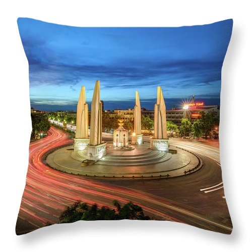 Built Structure Throw Pillow featuring the photograph The Democracy Monument by Thanapol Marattana