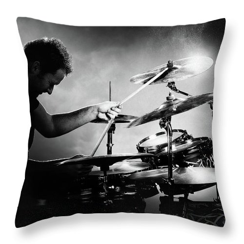 Drummer Throw Pillow featuring the photograph The Drummer by Johan Swanepoel