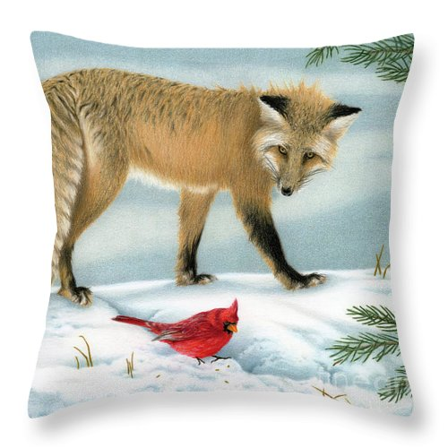 Christmas Throw Pillow featuring the painting The Fox And The Cardinal by Sarah Batalka