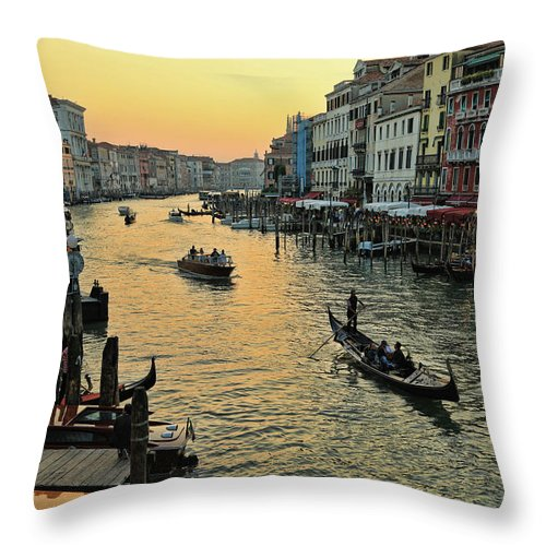 Venice Throw Pillow featuring the photograph The Grand Canal by Mary Buck