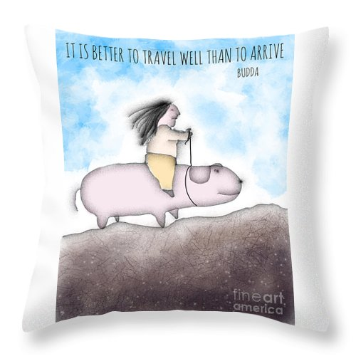 Travel Throw Pillow featuring the digital art The Journey by Jonathan Plotkin
