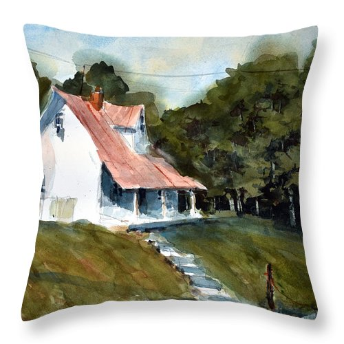 Landscape Throw Pillow featuring the painting The l Little White Cottage on Limerick Lane by Charles Rowland