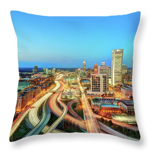 Atlanta Throw Pillow featuring the photograph The Lifeblood Of Atlanta by Photography By Steve Kelley Aka Mudpig