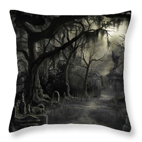 Cemetery Throw Pillow featuring the painting The Lost Cemetery by James Christopher Hill