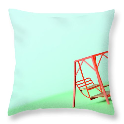 Paper Craft Throw Pillow featuring the photograph The Model Of The Swing Made Of The Paper by Yagi Studio