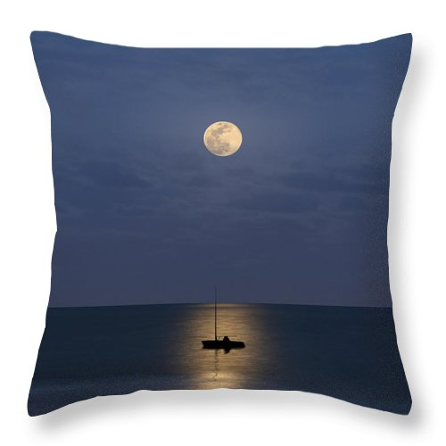 Sailboat Throw Pillow featuring the photograph The Moon Guide Us by Carlos Gotay