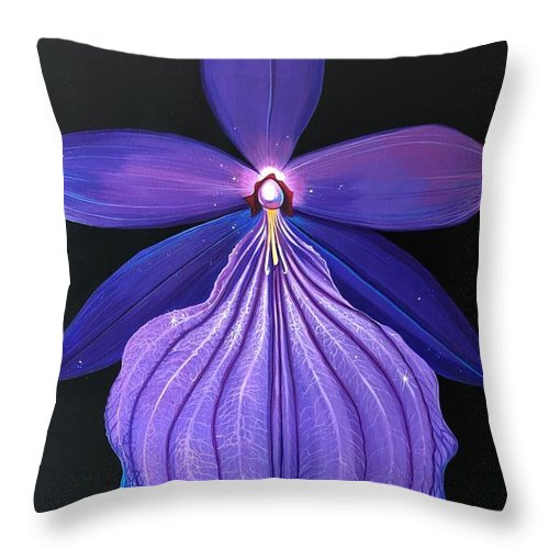 Orchid Throw Pillow featuring the painting The Mystic by Hunter Jay