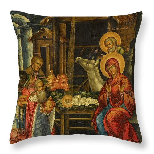 The Nativity Throw Pillow featuring the painting The Nativity, Russia, 1848 by Russian Art
