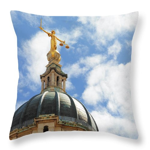 Statue Throw Pillow featuring the photograph The Old Bailey, Central Criminal Court by Peter Dazeley
