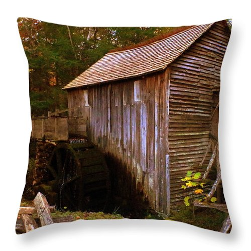 Grist Throw Pillow featuring the photograph The Old Grist Mill by Scott Heaton