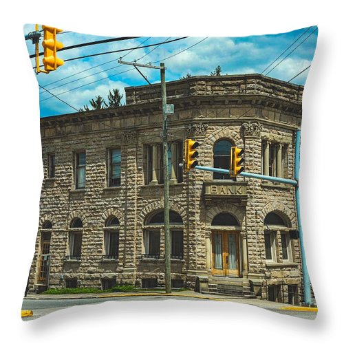 Old Banks Throw Pillow featuring the photograph The Old Stone Bank by Mountain Dreams