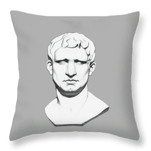 The Agrippa Throw Pillow featuring the drawing The Roman General - Marcus Vipsanius Agrippa by Things Eye C